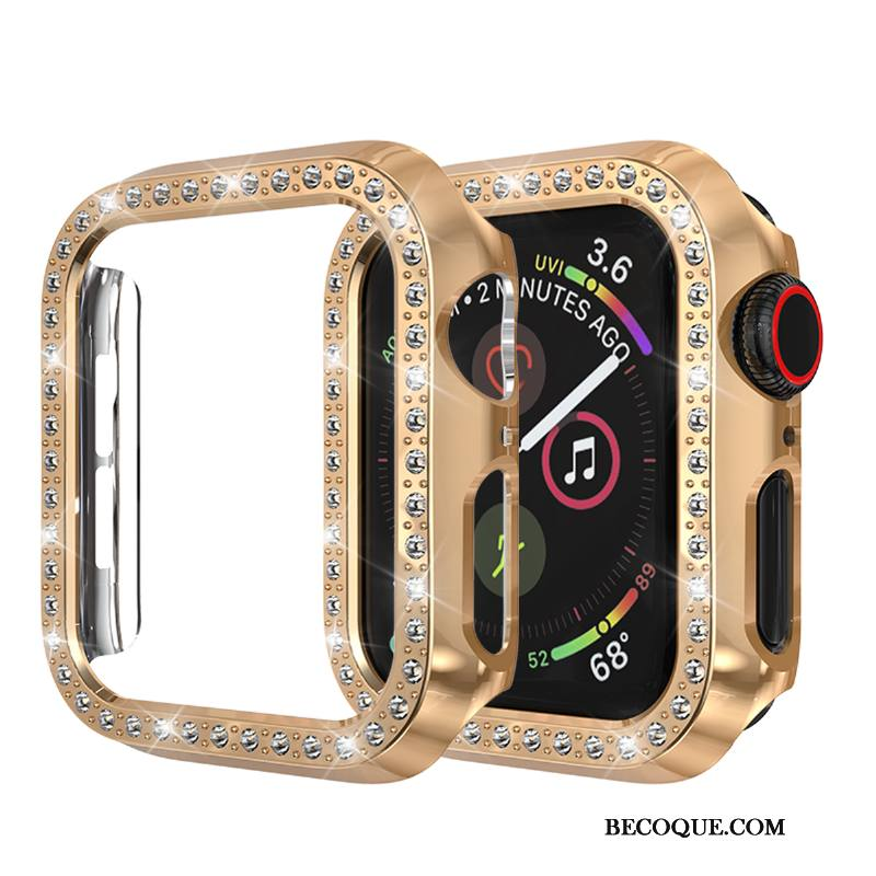 Étui Apple Watch Series 3 Incruster Strass Or Incassable, Coque Apple Watch Series 3 Protection