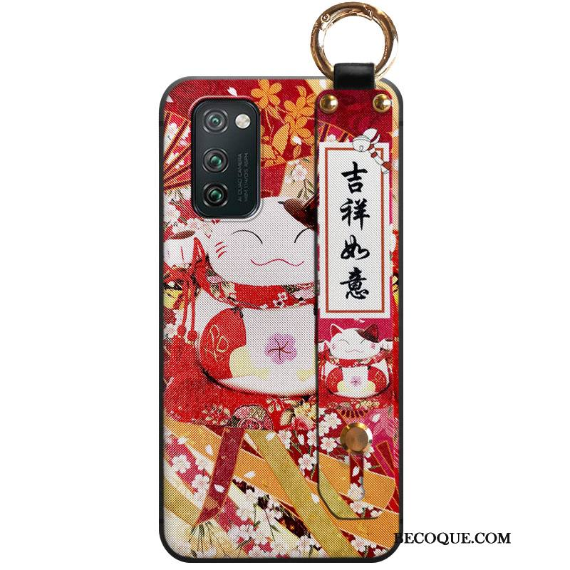 Étui Honor View30 Fluide Doux Net Rouge Chat, Coque Honor View30 Richesse Nouveau