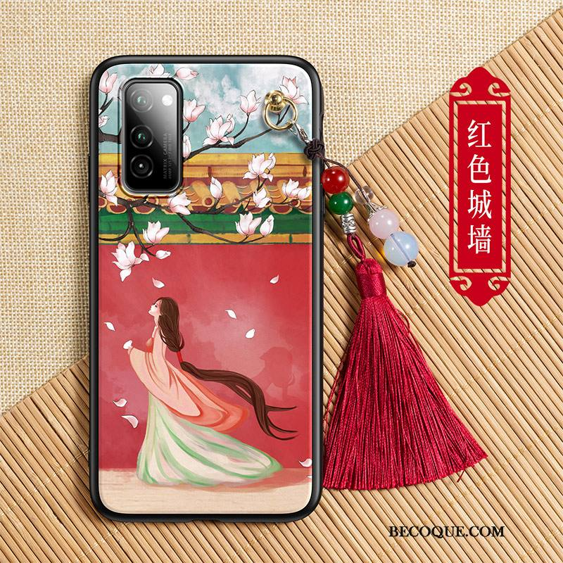 Étui Honor View30 Mode À Franges Rouge, Coque Honor View30 Style Chinoisde Téléphone