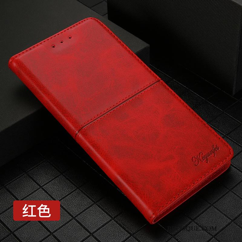 Étui Huawei Mate 30 Pro Housse Incassable Business, Coque Huawei Mate 30 Pro Cuir Rouge Carte