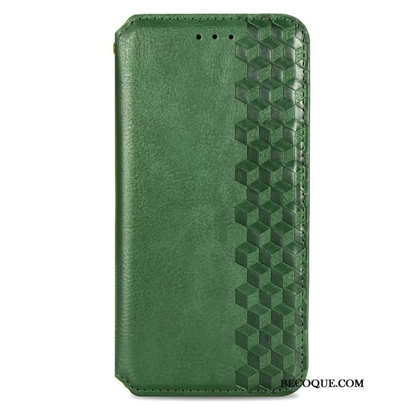 Étui Moto G8 Power Lite Cuir Vert Dimensionnel, Coque Moto G8 Power Lite Housse Ornements Suspendus Plaid