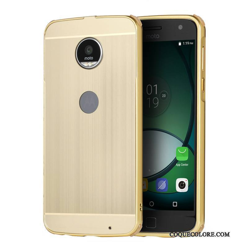 Étui Moto Z Play Métal Borderde Téléphone, Coque Moto Z Play Protection Or Incassable