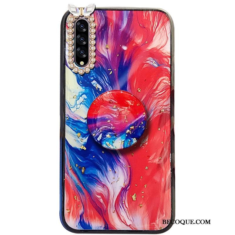 Étui Samsung Galaxy A50s Support Rouge Difficile, Coque Samsung Galaxy A50s Incruster Strass