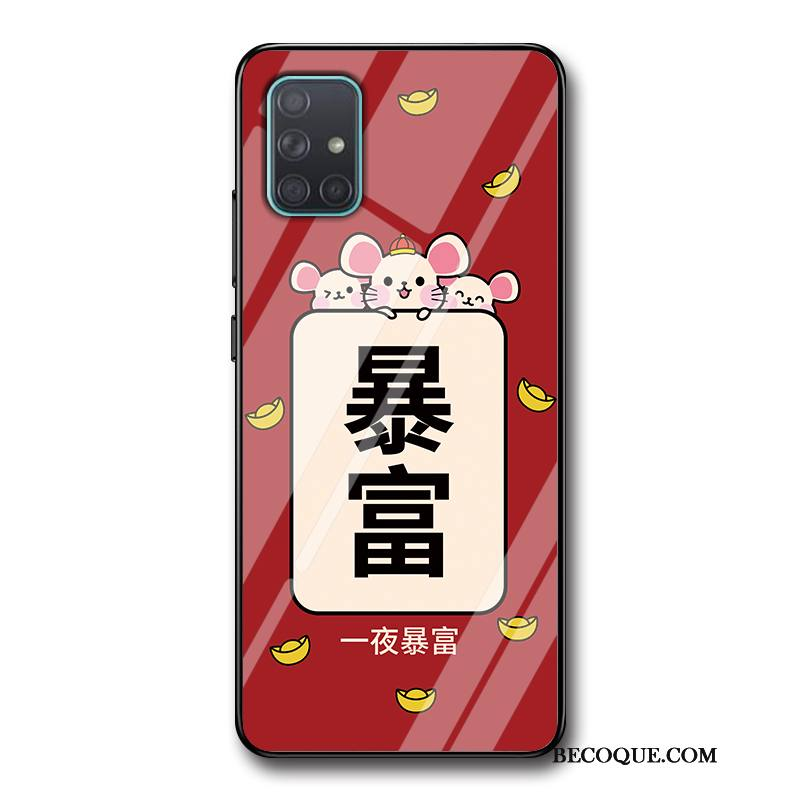 Étui Samsung Galaxy A71 Mode Incassable Nouveau, Coque Samsung Galaxy A71 Protection Rat Rouge