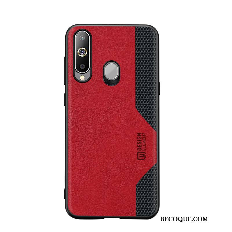Étui Samsung Galaxy A8s Silicone Rouge Tissage, Coque Samsung Galaxy A8s Protection Cool Modèle Fleurie
