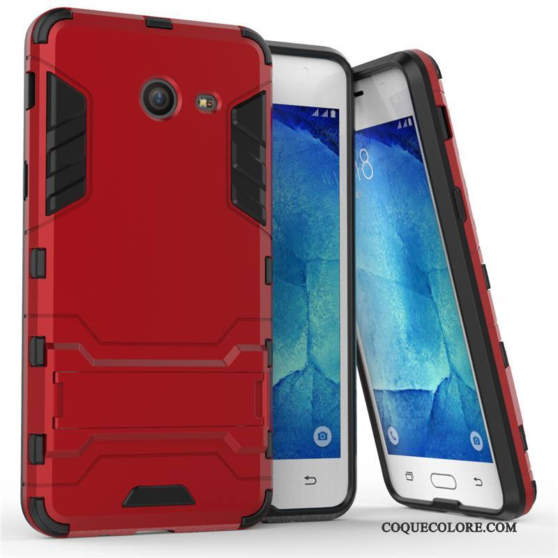 Étui Samsung Galaxy J7 2017 Support Incassable Difficile, Coque Samsung Galaxy J7 2017 Protection Rouge