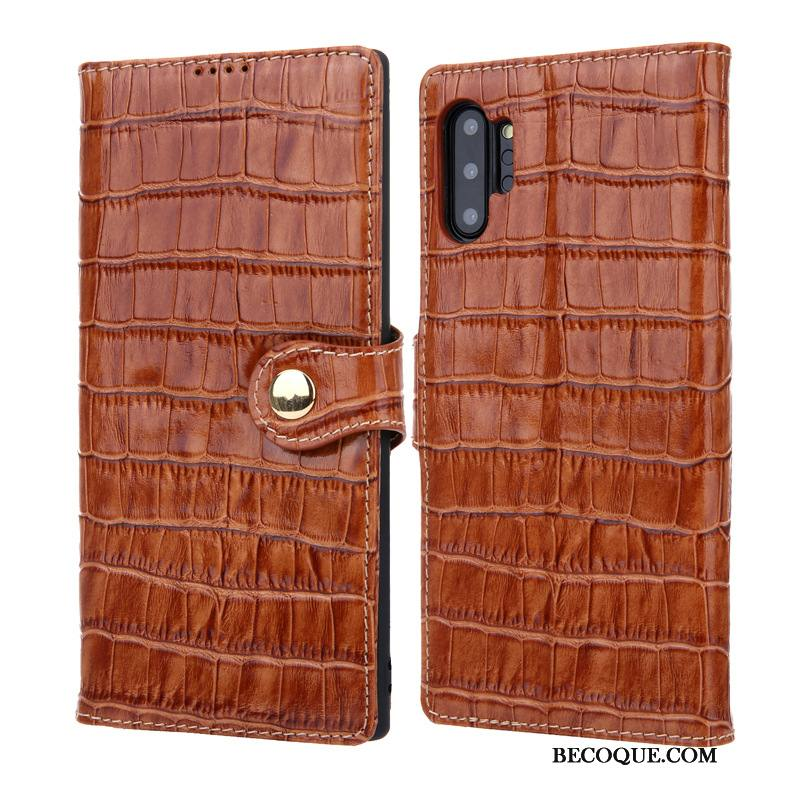 Étui Samsung Galaxy Note 10+ Cuir Crocodile, Coque Samsung Galaxy Note 10+