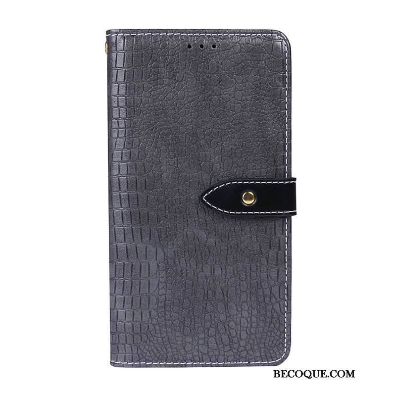 Étui Samsung Galaxy Note 10+ Protection Incassable Couleur Unie, Coque Samsung Galaxy Note 10+ Cuir Gris Crocodile Modèle