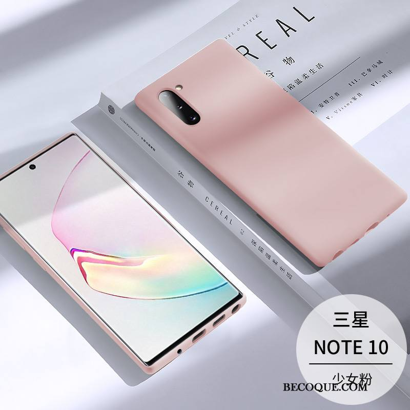 Étui Samsung Galaxy Note 10 Protection Incassable Très Mince, Coque Samsung Galaxy Note 10 Silicone Rose Tendance
