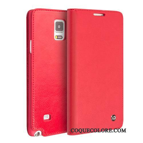 Étui Samsung Galaxy Note 4 Protection Rouge, Coque Samsung Galaxy Note 4 Cuir