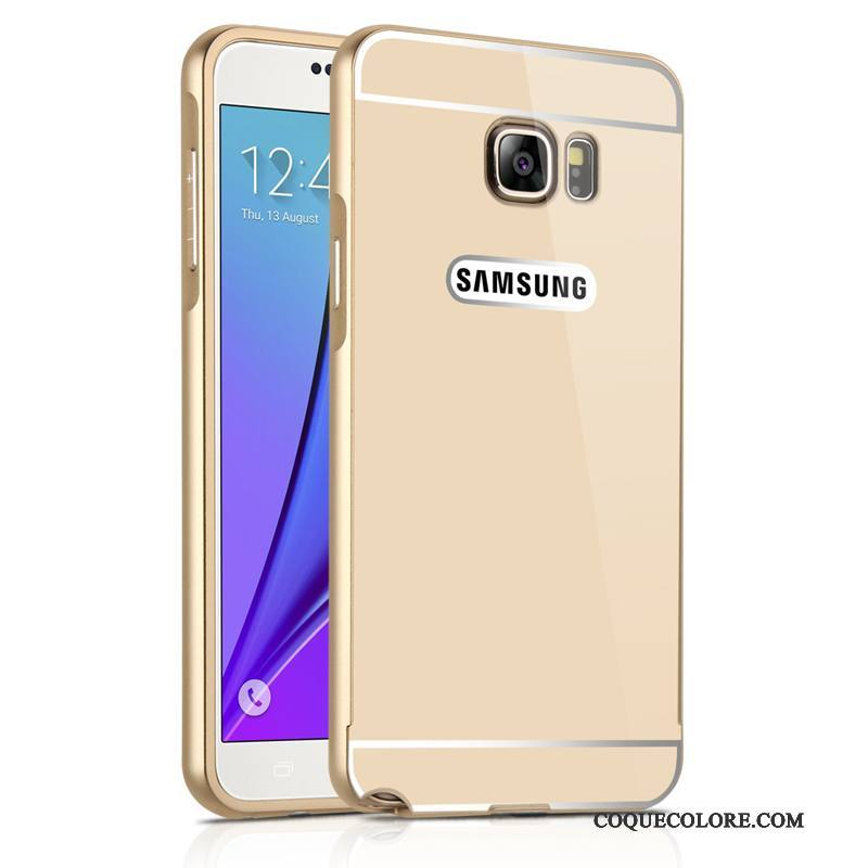 Étui Samsung Galaxy Note 5 Métal Incassable Miroir, Coque Samsung Galaxy Note 5 Protection Or Border