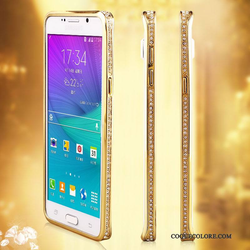 Étui Samsung Galaxy Note 5 Protection Borderde Téléphone, Coque Samsung Galaxy Note 5 Strass Incassable Or