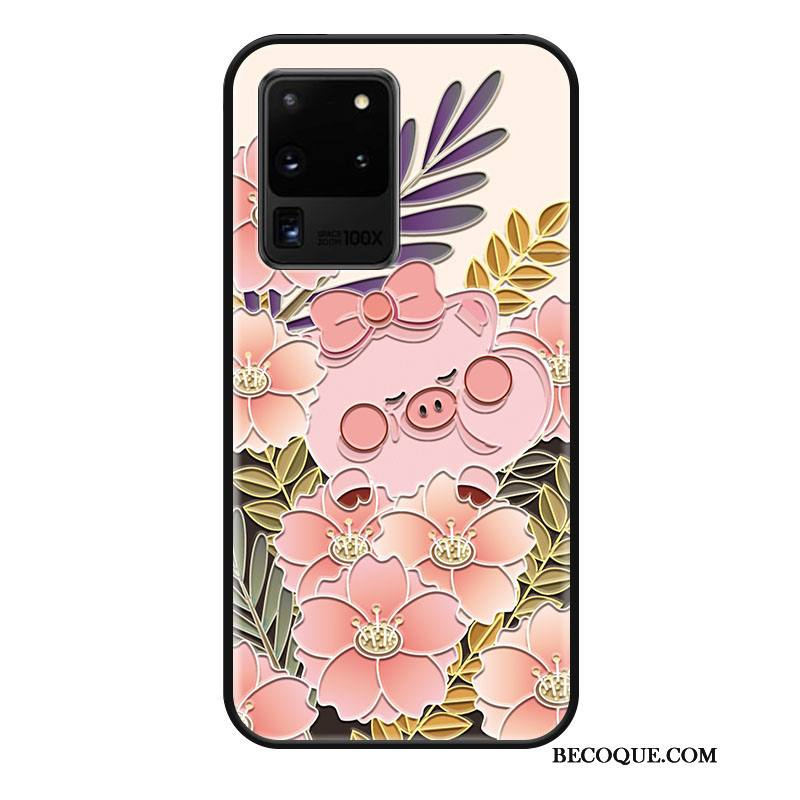 Étui Samsung Galaxy S20 Ultra Silicone Rose Soirée, Coque Samsung Galaxy S20 Ultra Dessin Animé Tendance Charmant
