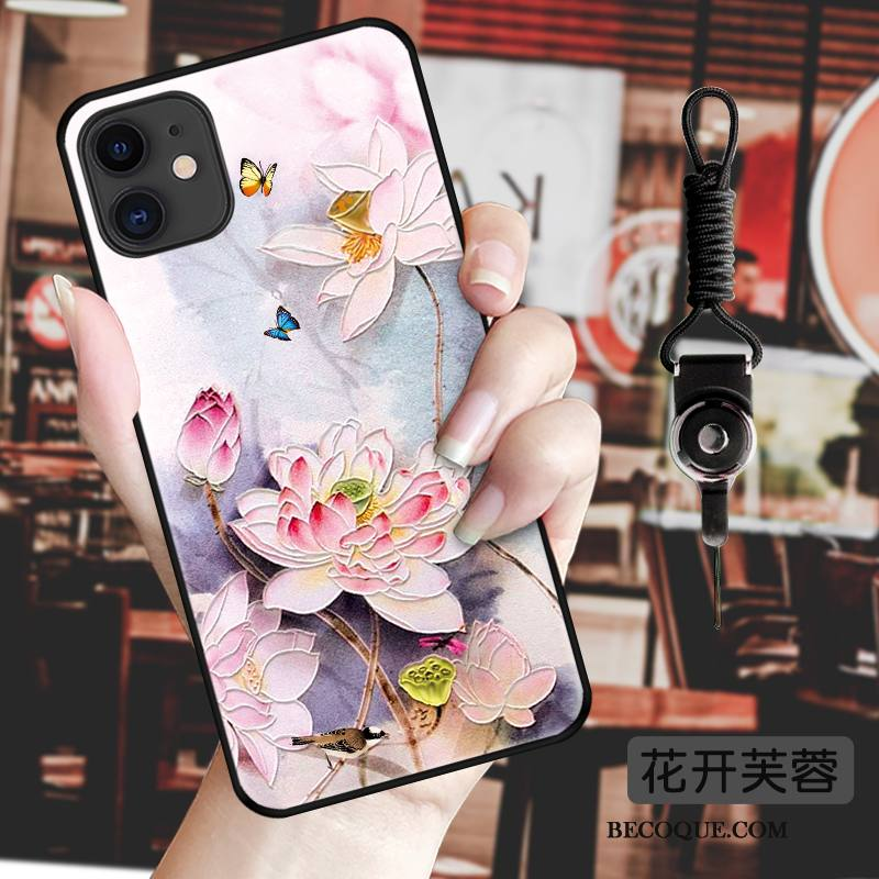 Étui iPhone 11 Protection Style Chinoisde Téléphone, Coque iPhone 11 Gaufrage Incassable Ornements Suspendus