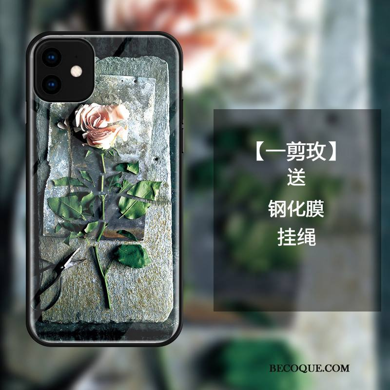 Étui iPhone 11 Sacs De Téléphone Simple, Coque iPhone 11 Mode Noir Art