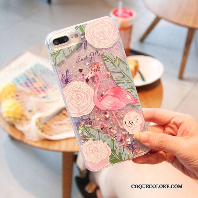 Étui iPhone 7 Multicolore Quicksand Liquide, Coque iPhone 7 Oiseau Rose