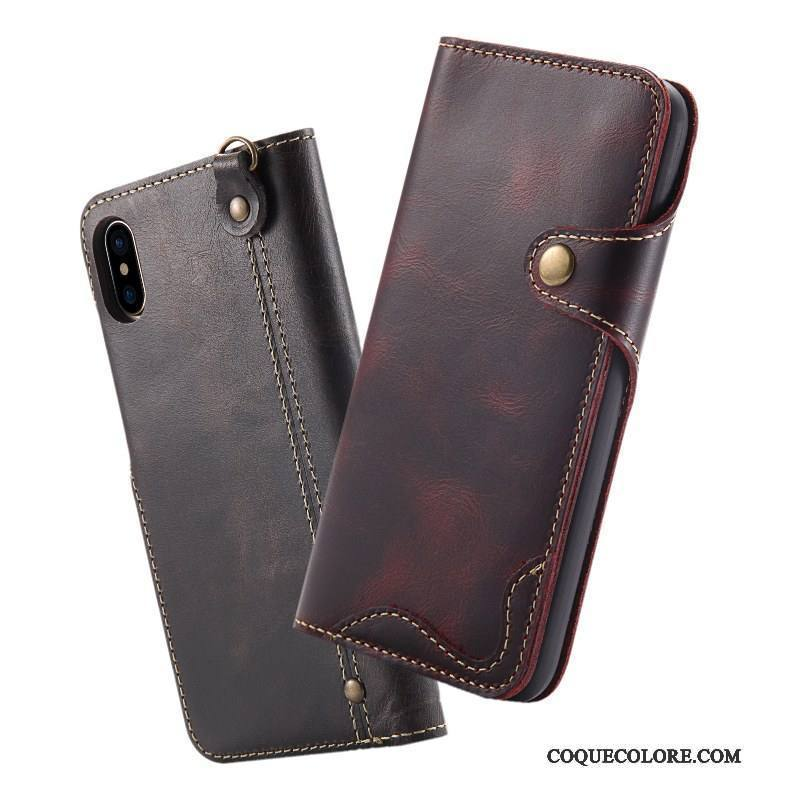 Étui iPhone X Cuir Ornements Suspendus Britanique, Coque iPhone X Housse Bovins Incassable