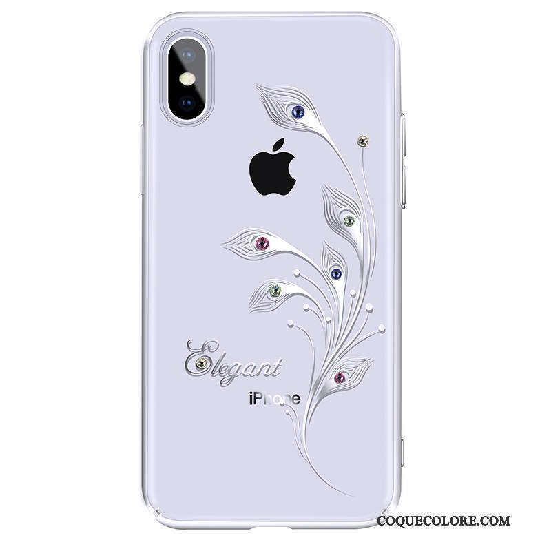 Étui iPhone X Strass Blanc Nouveau, Coque iPhone X Luxe Incassable Transparent