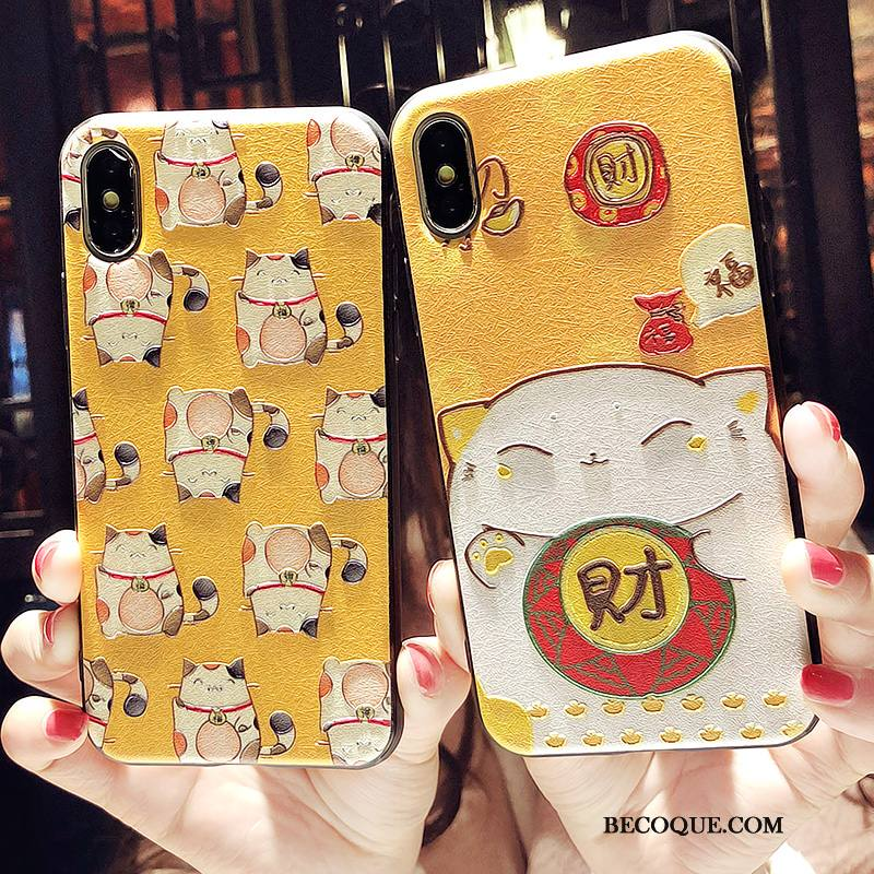 Étui iPhone Xs Fluide Doux Jaune Richesse, Coque iPhone Xs Gaufrage Chat Charmant