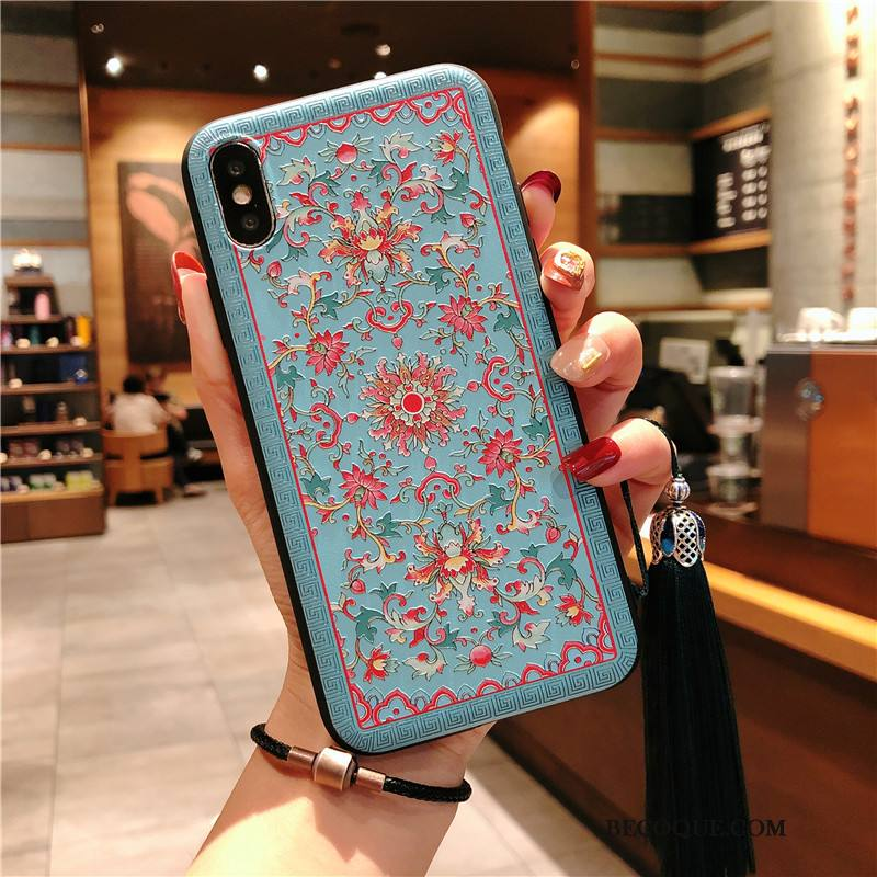 Étui iPhone Xs Gaufrage Bleu Motif, Coque iPhone Xs Protection Palais Fleur
