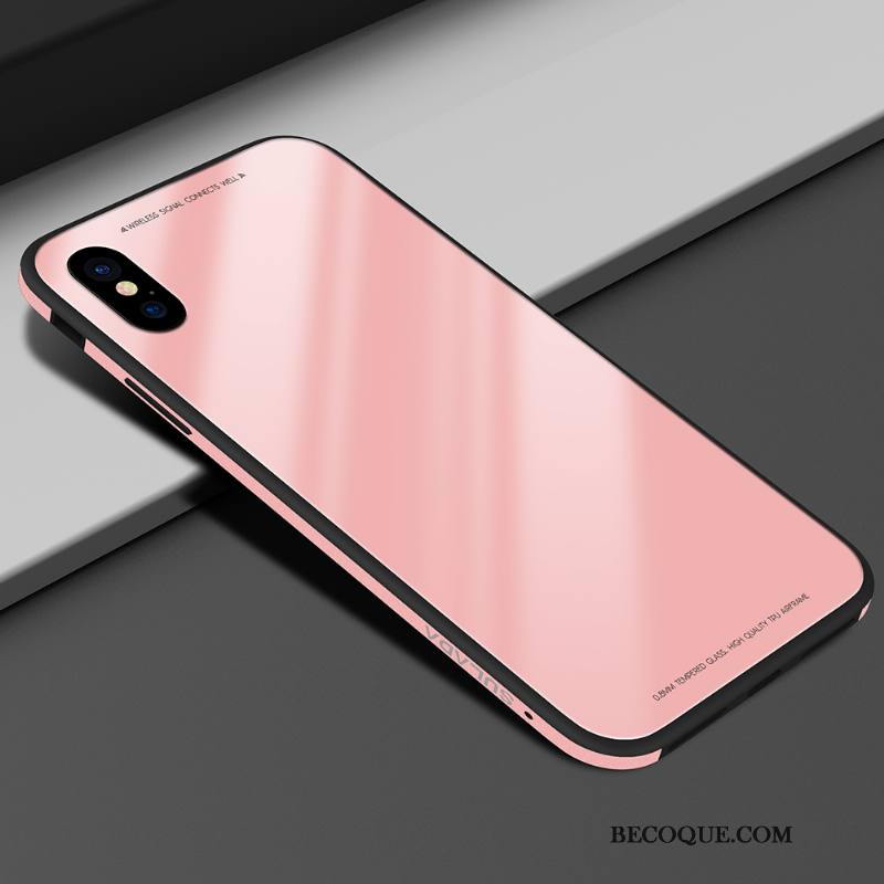 Étui iPhone Xs Protection Simple Rose, Coque iPhone Xs Fluide Doux Verre Amoureux