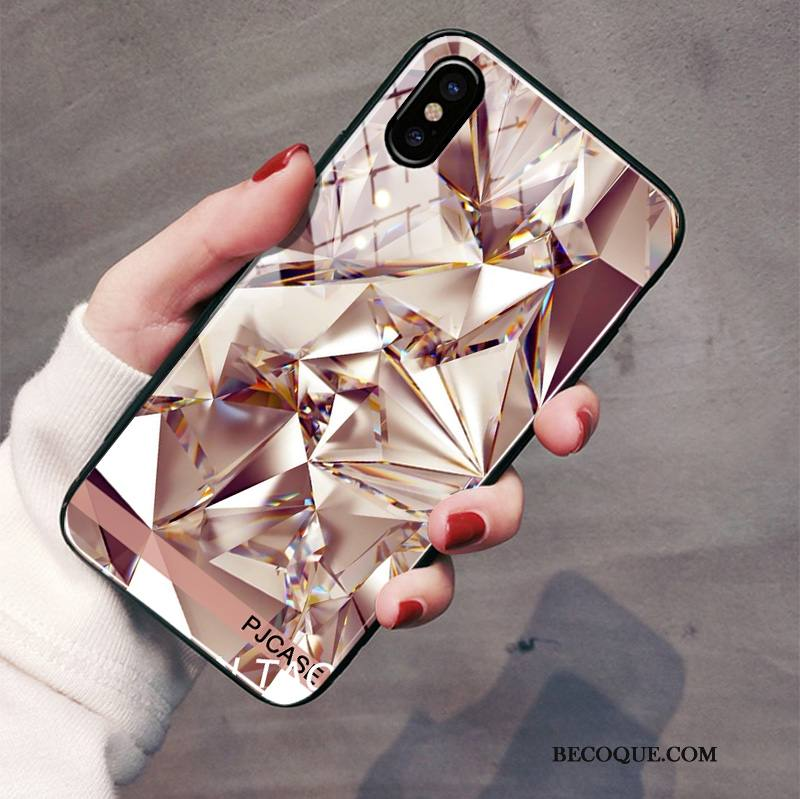 Étui iPhone Xs Sacs Miroir Incassable, Coque iPhone Xs Protection De Téléphone Or