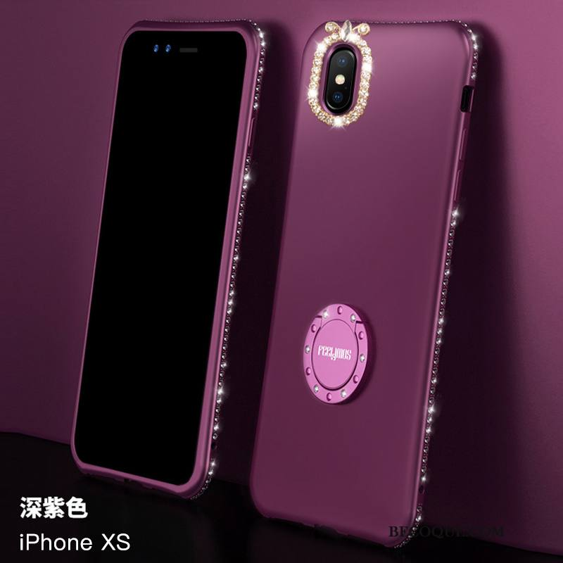 Étui iPhone Xs Sacs Violet Net Rouge, Coque iPhone Xs Silicone Nouveau Incassable