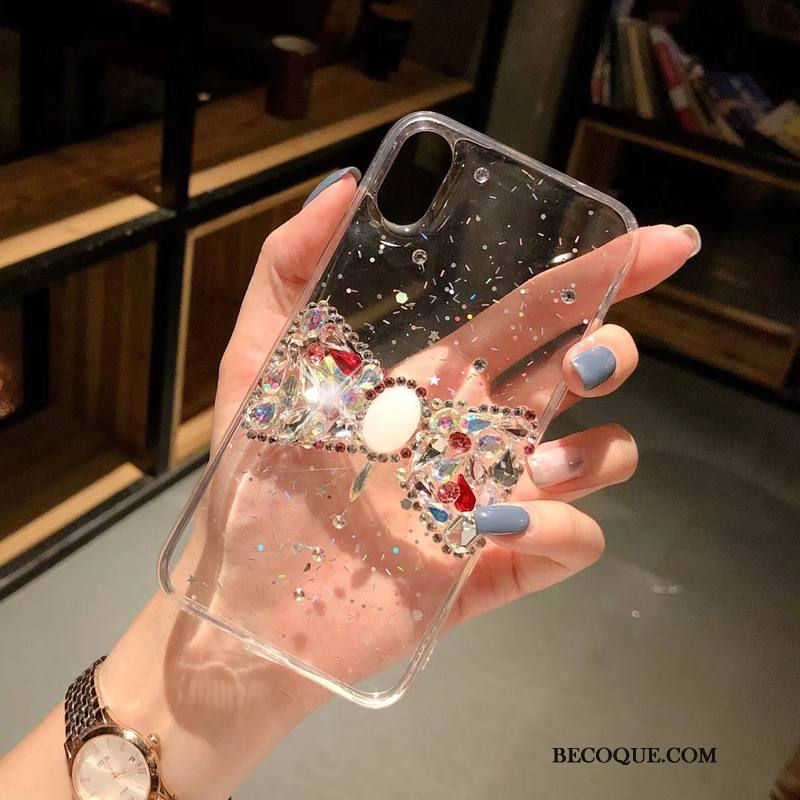 Étui iPhone Xs Strass Transparent Personnalité, Coque iPhone Xs Blanc Ornements Suspendus
