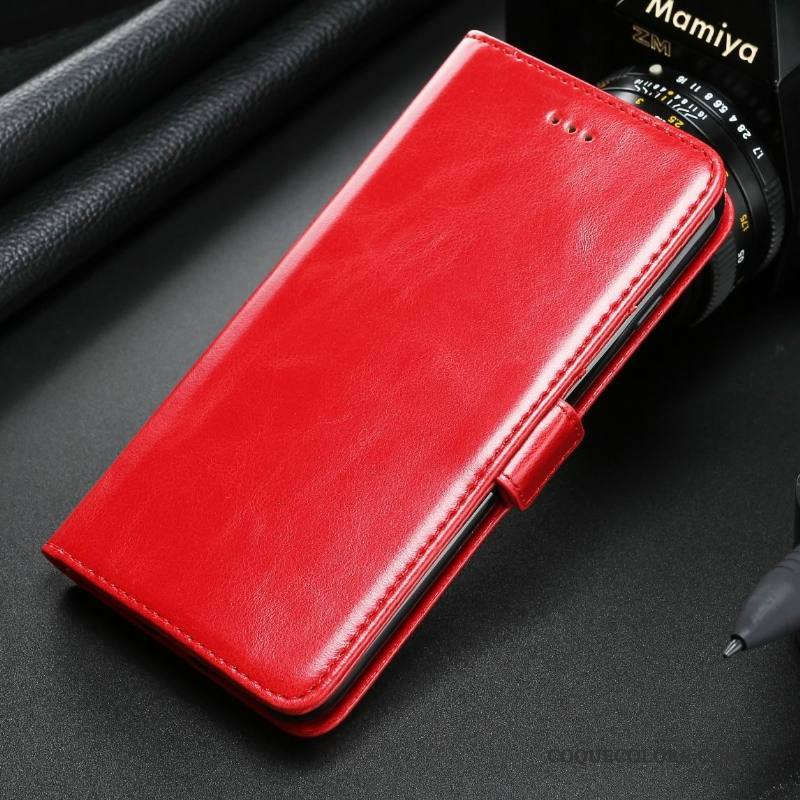 Étui Samsung Galaxy S8+ Fluide Doux Rouge Carte, Coque Samsung Galaxy S8+ Cuir Business